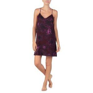 DKNY Designer Slip Dress Purple Floral Size Large